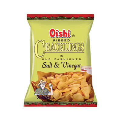 Oishi Ribbed Cracklings Salt & Vinegar 24g