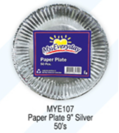 My Everyday Paper Plate 9''Silver 10/50S